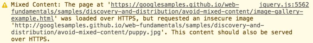 Предупреждение о смешанном контенте на сайте браузера Google Chrome