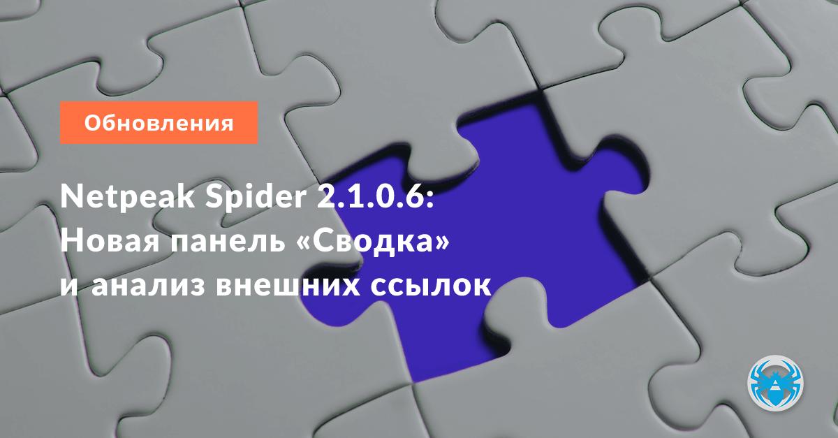 Netpeak Spider 2.1.0.6: Новая панель «Сводка» и анализ внешних ссылок