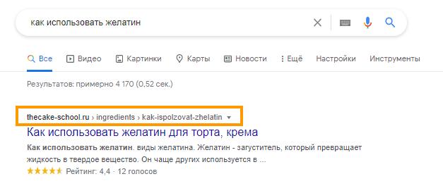 Пример структурированного URL-адреса