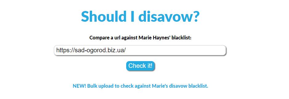 Marie Haynes' Disavow Blacklist