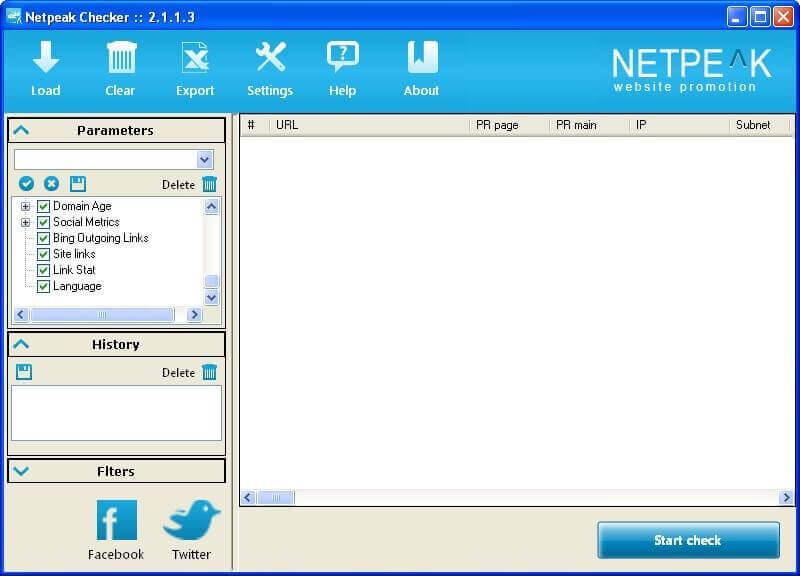 Главное окно Netpeak Checker 2.1.1.3