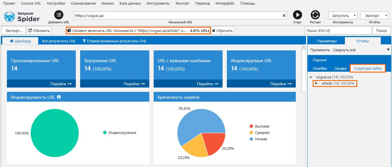 Сегментация страниц с использованием структуры сайта