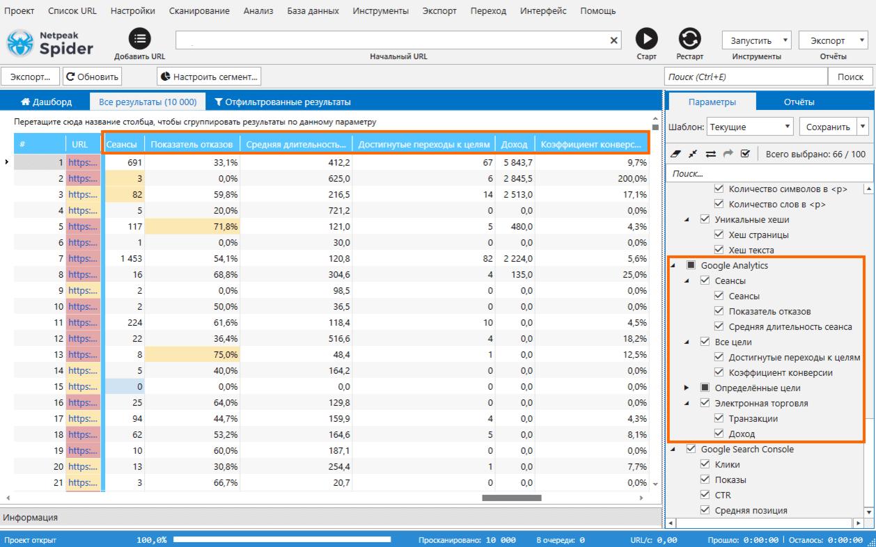 Выберите параметры Google Analytics на боковой панели Netpeak Spider 3.3, начните анализ, после чего вы увидите данные, которые отобразятся в соответствующих колонках основной таблицы