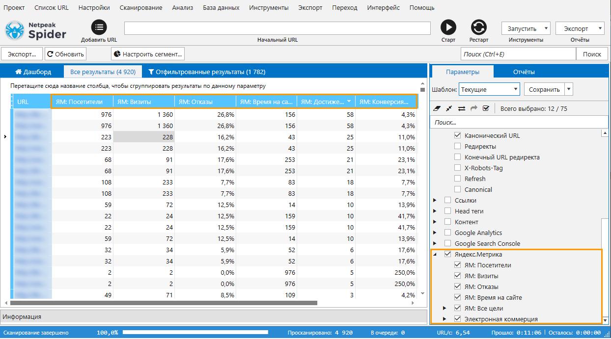 Выберите параметры Яндекс.Метрики на боковой панели Netpeak Spider 3.5, запустите анализ, после чего вы увидите данные в соответствующих столбцах основной таблицы