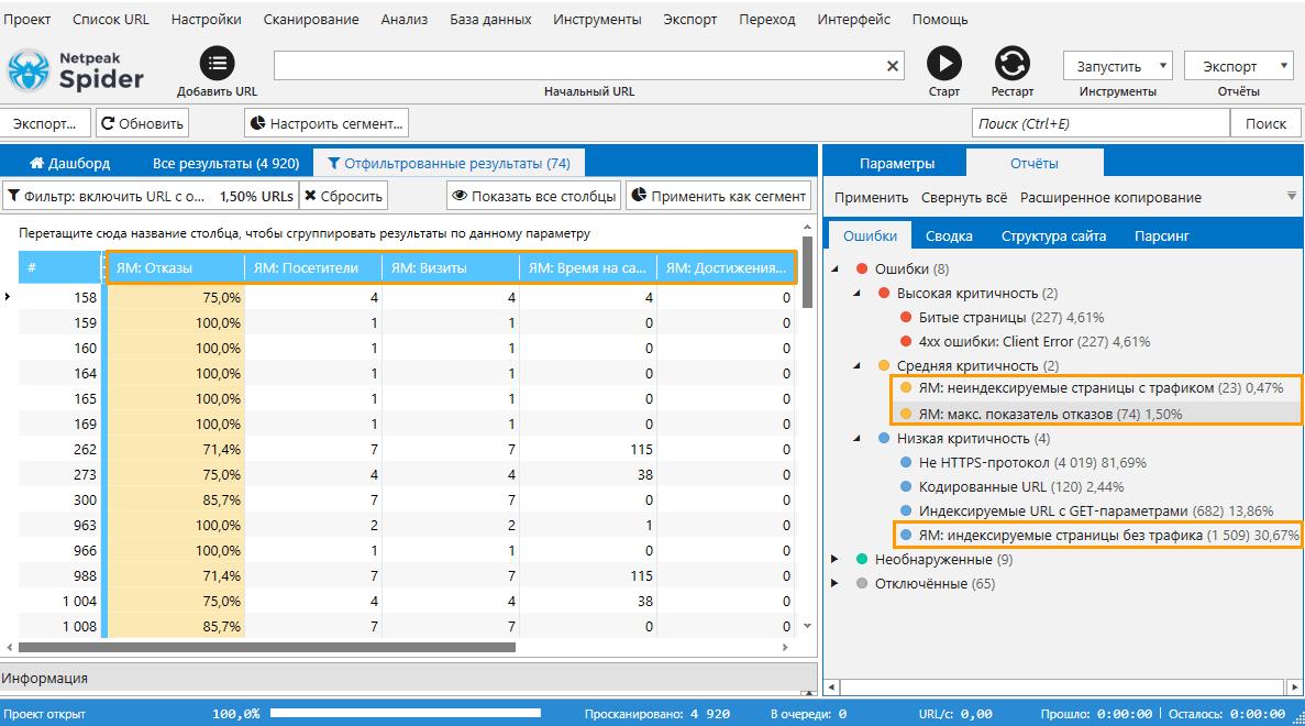 Netpeak Spider 3.5 определяет такие ошибки по данным Яндекс.Метрики: неиндексируемые страницы с трафиком, максимальный показатель отказов, индексируемые страницы без трафика