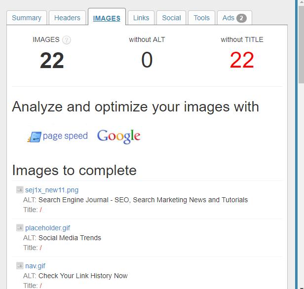 Анализ изображений SEO Meta in 1 сlick