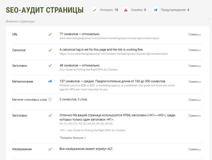 SEO-аудит страницы