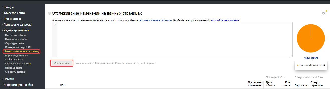 Раздел ««Мониторинг важных страниц» Яндекс.Вебмастера