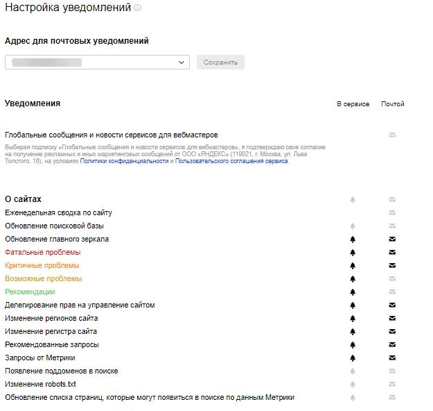 Раздел «Мониторинг важных страниц» Яндекс.Вебмастера