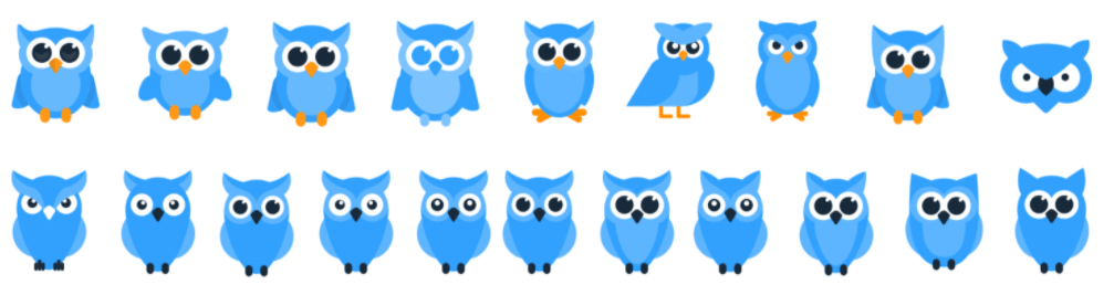 20 stages of redesign of our owl – Owlymate logo