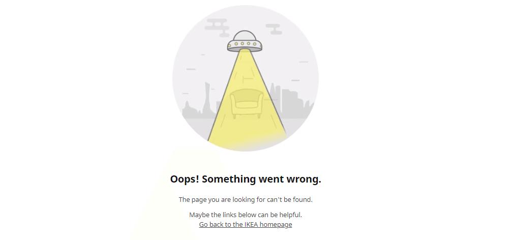 Пример оформления 404 страницы на сайте IKEA