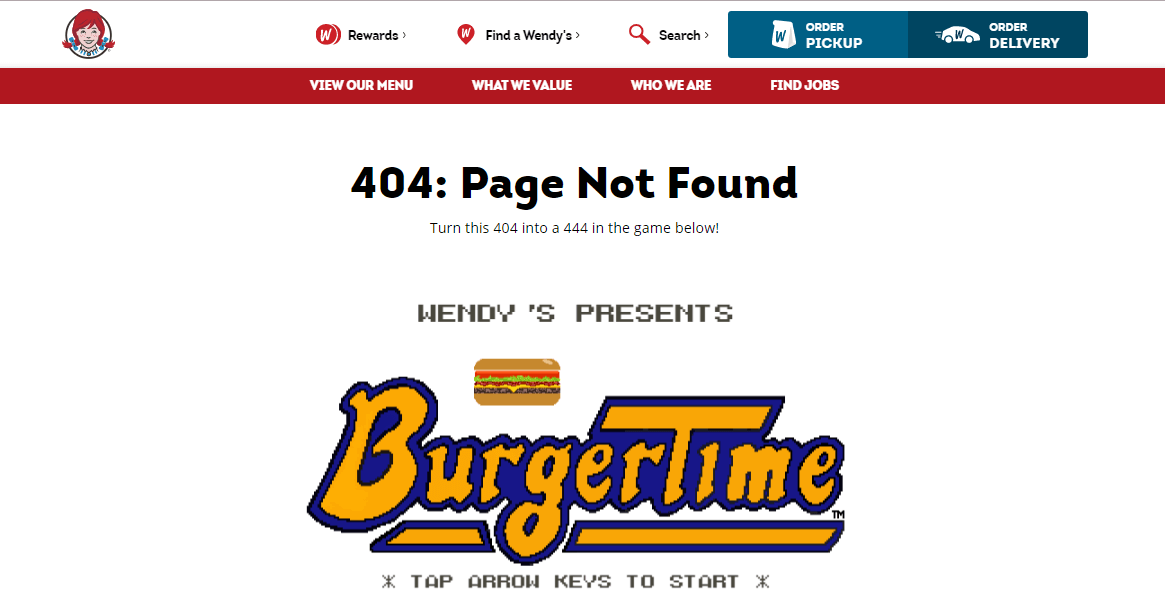 Пример оформления 404 страницы на сайте Wendy's