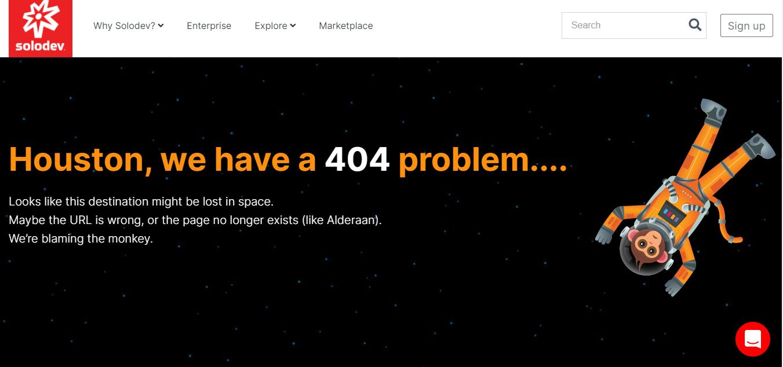 Пример оформления 404 страницы на сайте Solodev