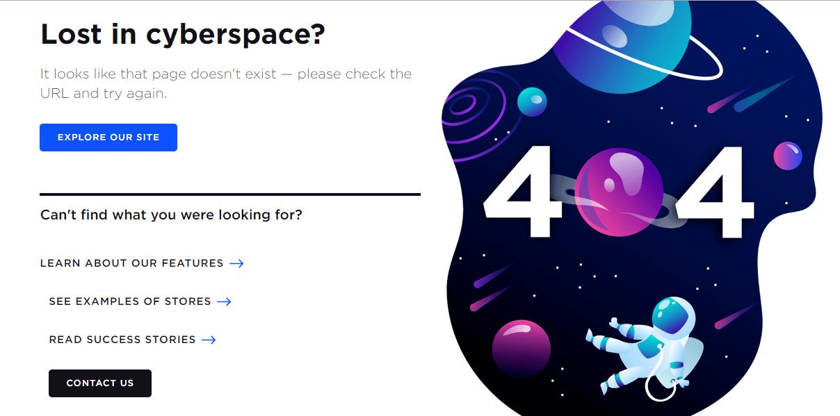 Пример оформления 404 страницы на сайте BigCommerce