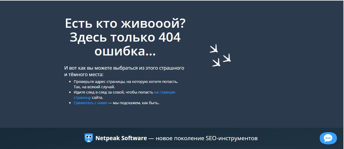 Пример оформления 404 страницы на сайте Netpeak Software
