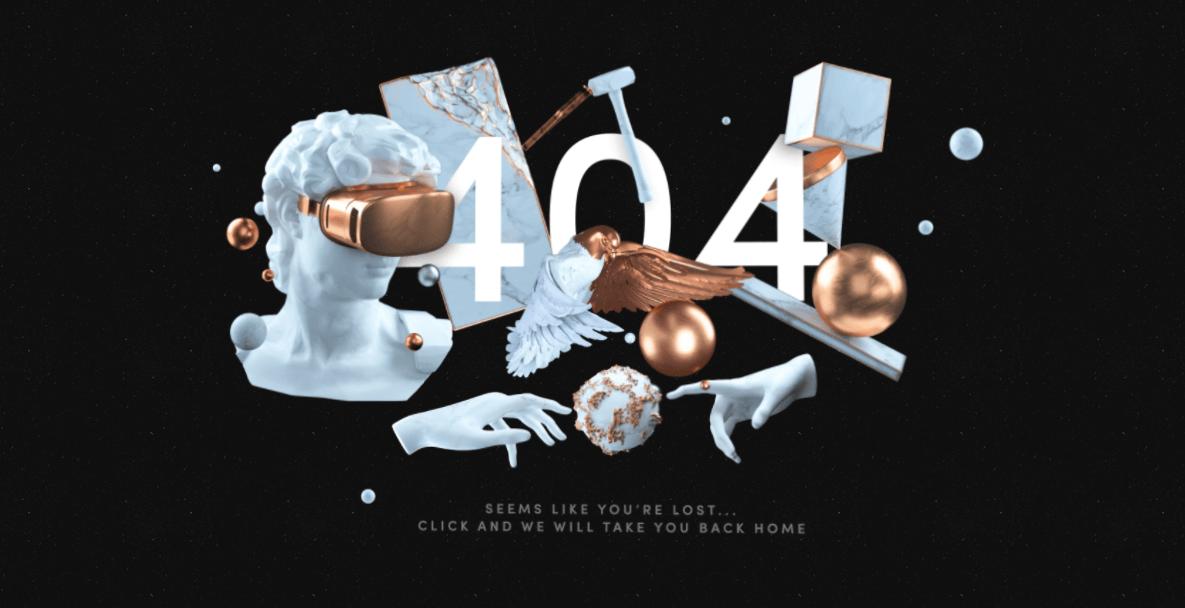 Пример оформления 404 страницы на сайте The Artery