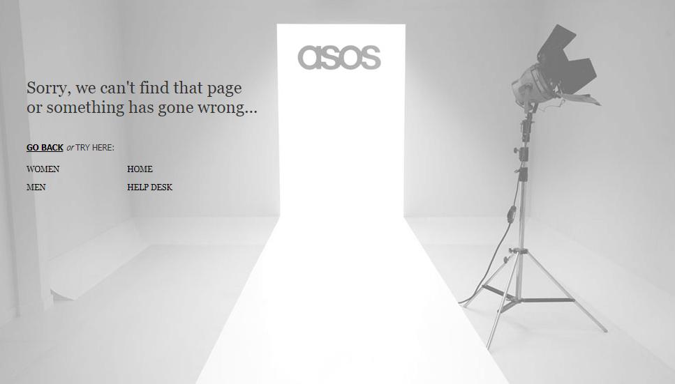 Пример оформления 404 страницы на сайте Asos