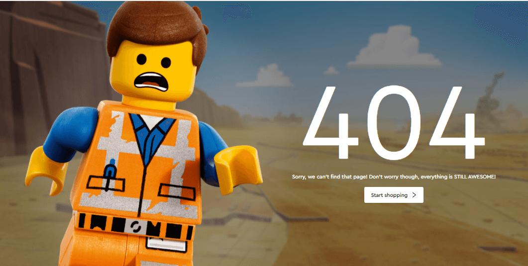 Пример оформления 404 страницы на сайте Lego