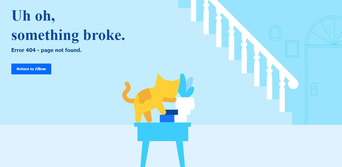 Пример оформления 404 страницы на сайте Zillow