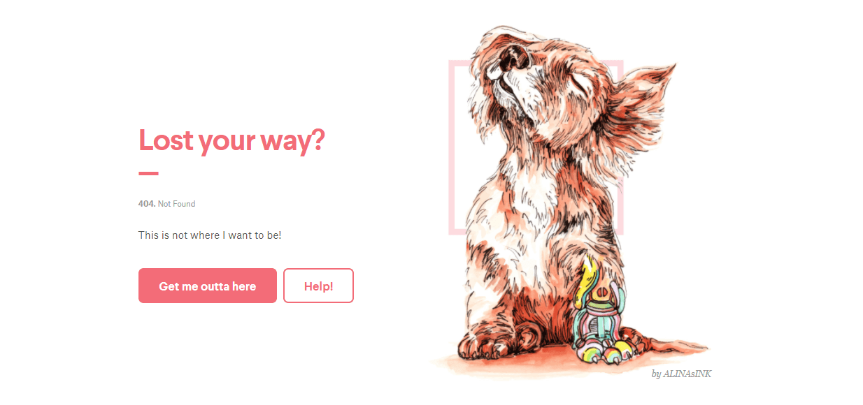 Пример оформления 404 страницы на сайте 99designs