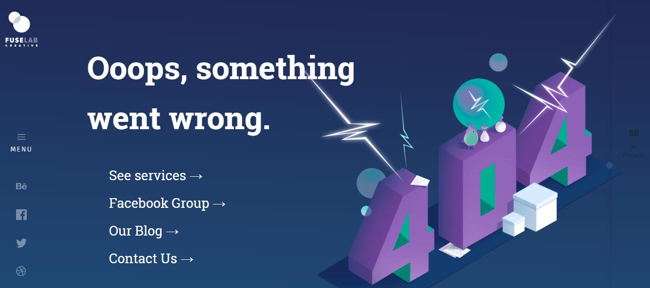 Пример оформления 404 страницы на сайте FuseLab Creative