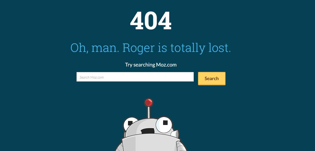 Пример оформления 404 страницы на сайте Moz