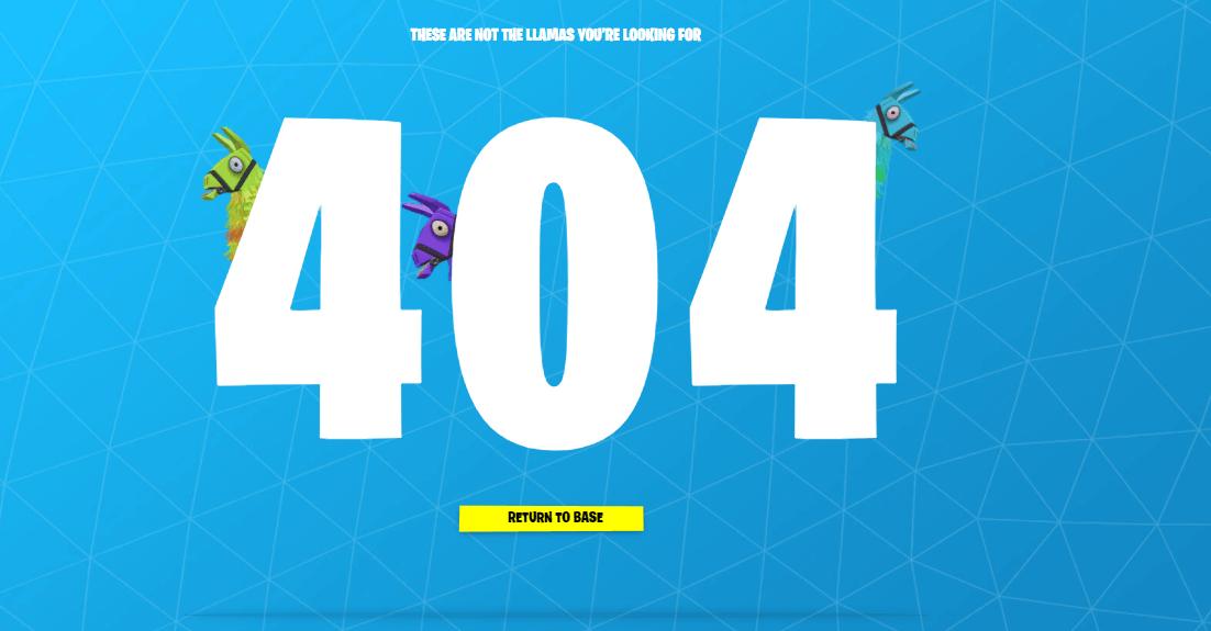 Пример оформления 404 страницы на сайте Fortnite