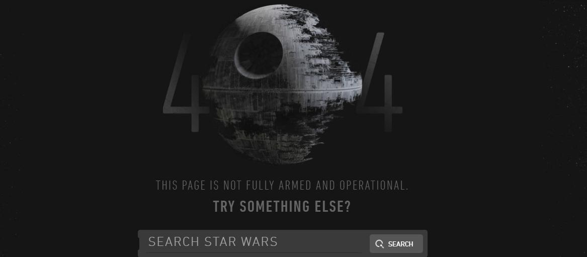 Пример оформления 404 страницы на сайте Star Wars