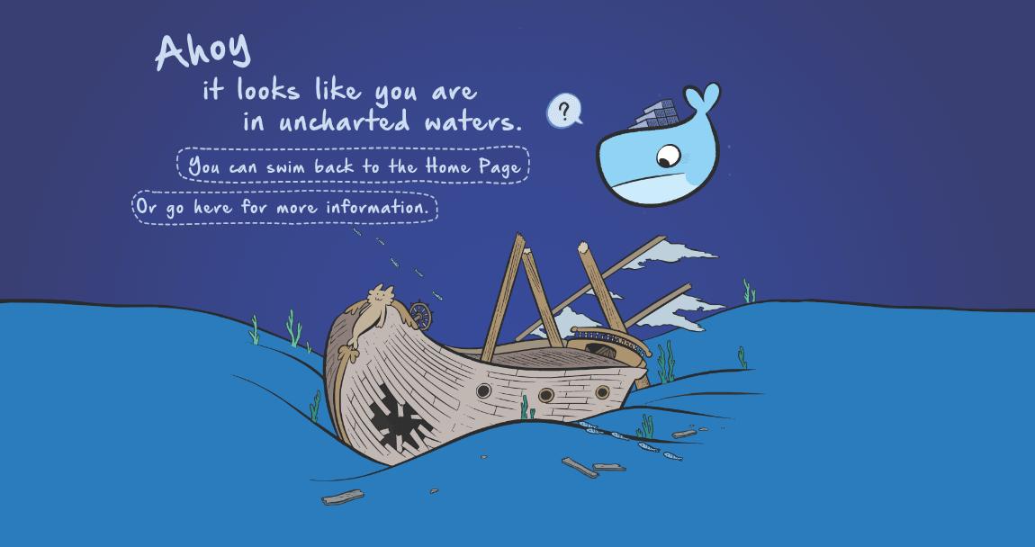 Пример оформления 404 страницы на сайте Docker