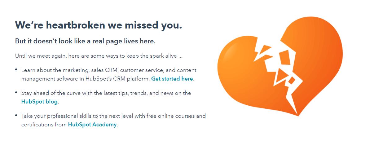 Пример оформления 404 страницы на сайте HubSpot