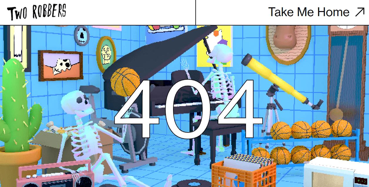 Пример оформления 404 страницы на сайте TwoRobbers