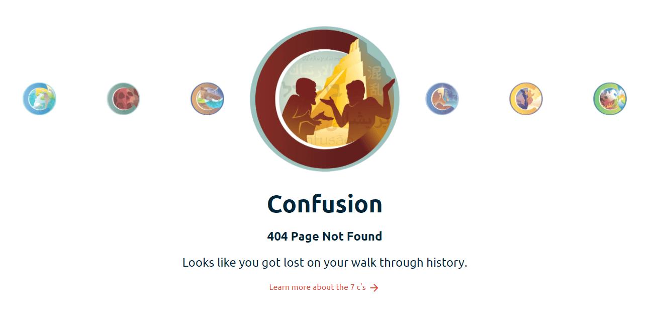 Пример оформления 404 страницы на сайте Creationmuseum