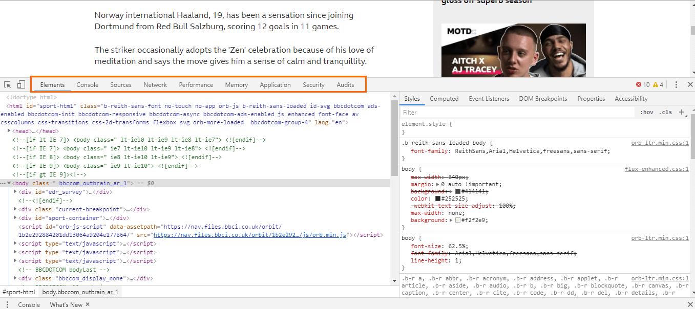 Как открыть инструменты для вебмастеров в браузере