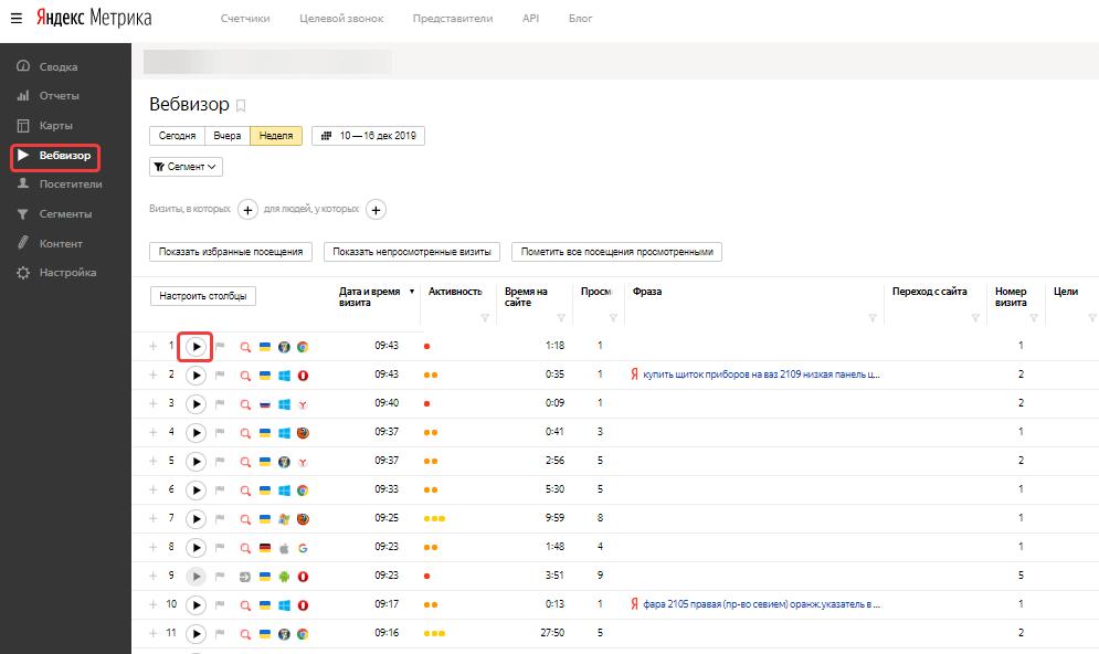 Инструмент вебвизор в Яндекс.Метрике