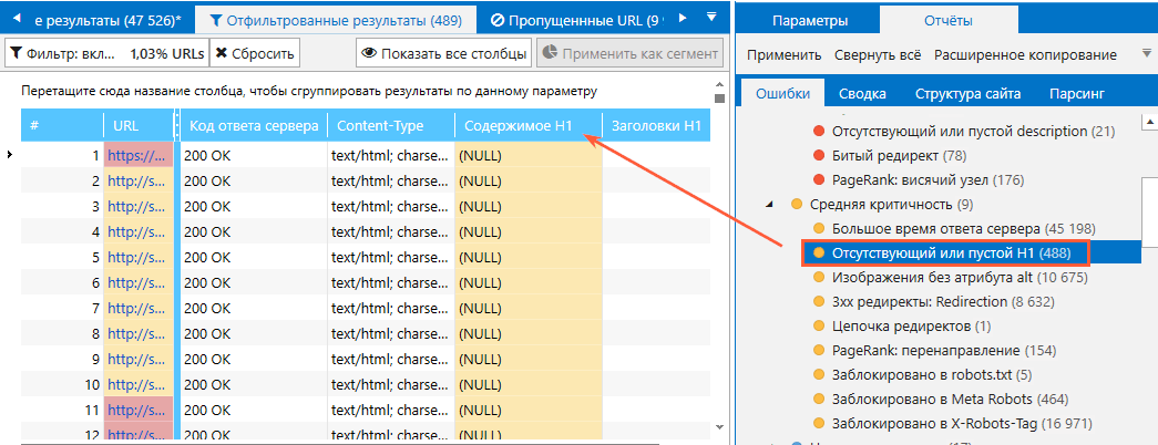 Ошибки, связанные с заголовком H1, которые определяет Netpeak Spider