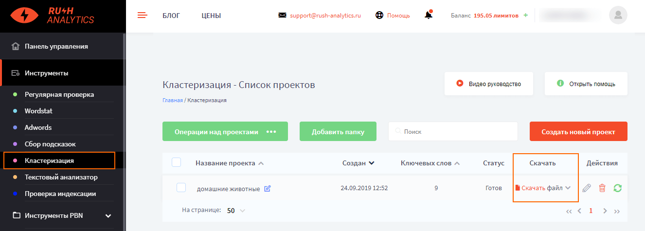Кластеризация в Rush Analytics