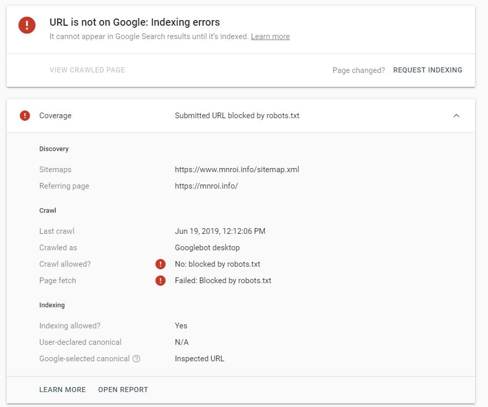 Пример ошибки в Google Search Console