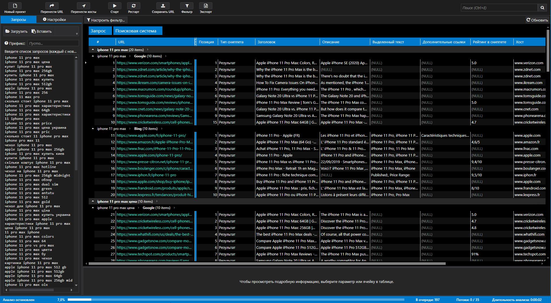 Результаты парсинга поисковых систем в Netpeak Checker
