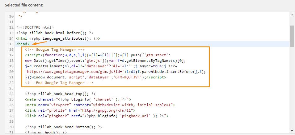 WordPress SEO: код для внедрения GTM