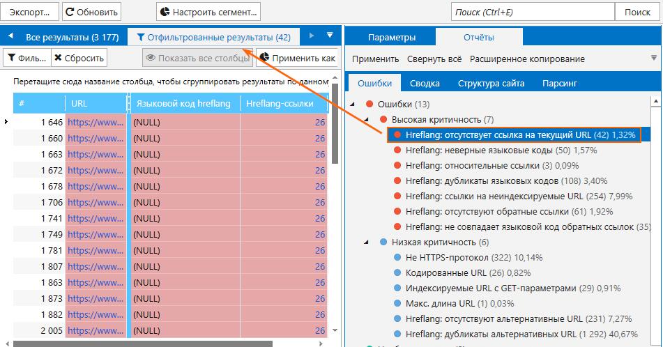 Как искать ошибки, связанные с атрибутом hreflang, в Netpeak Spider