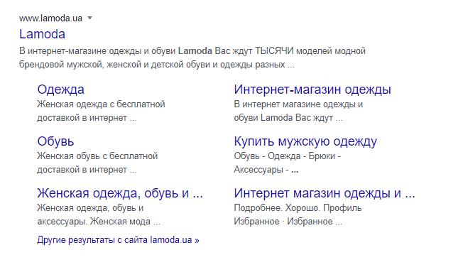 Ссылки сайта в выдаче Google