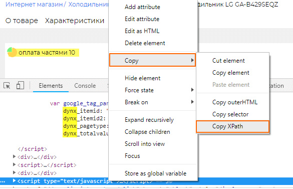 XPath тега script