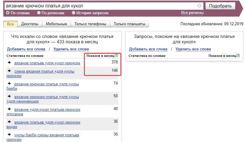 Низкочастотные запросы: пример в Яндекс.Вордстат