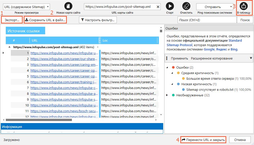 Перенести URL из sitemap и закрыть