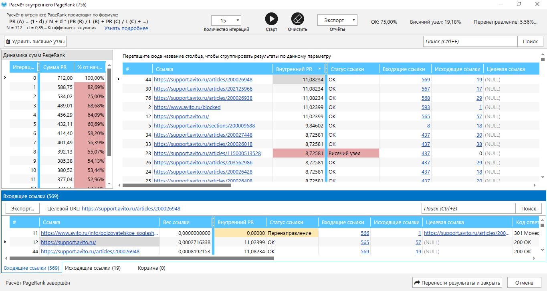 Инструмент Расчёта внутреннего PageRank